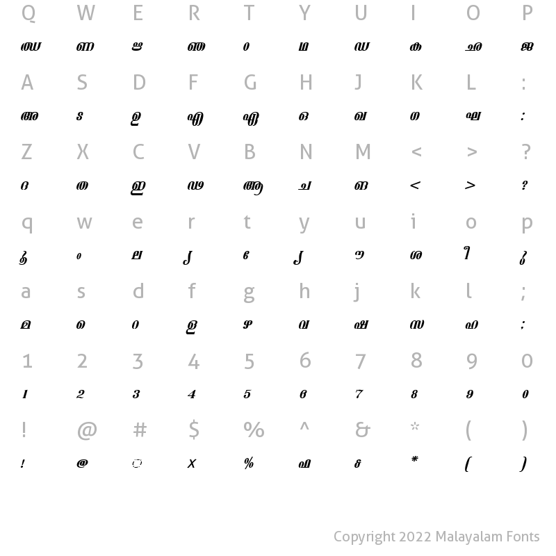 Character Map of ML-TTAshtamudi Italic