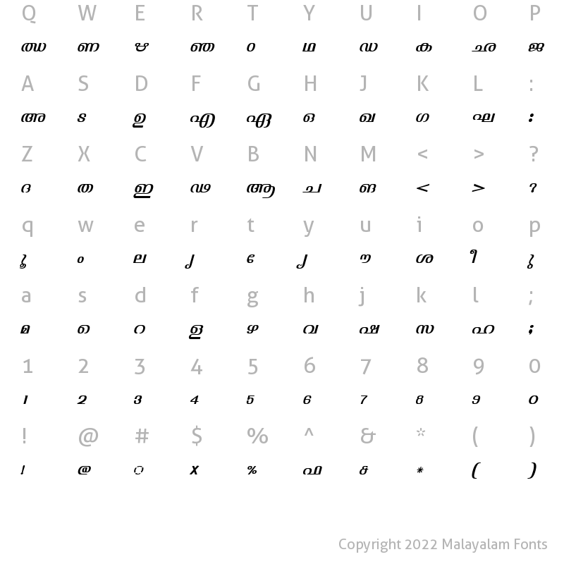 Character Map of ML-TTJyothy Italic