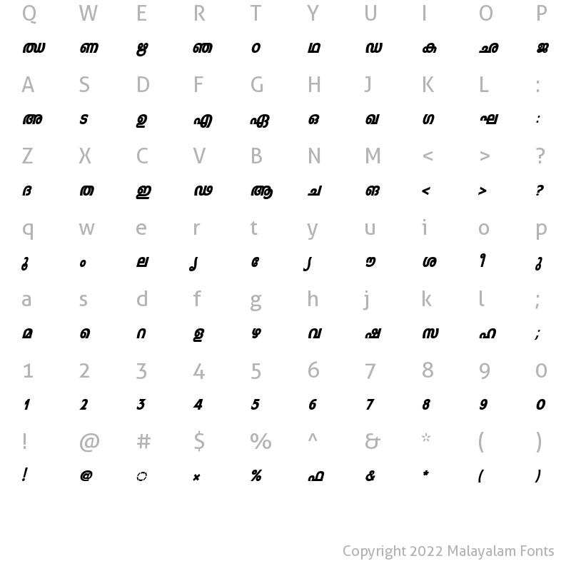 Character Map of ML-TTLeelaHeavy Italic
